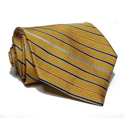 """Jos A Bank Men Silk Dress Tie Yellow Stripes 3.5"""" wide 58"""" long Made in Italy"""