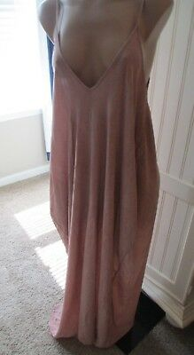 Elan Cover up Maxi Beach dress Pink Taupe  adjustable straps oversz S, MSR $68