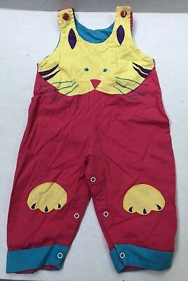 Vintage Toddler Girl Colorful Cat Romper Rainbow Connection 12 Months