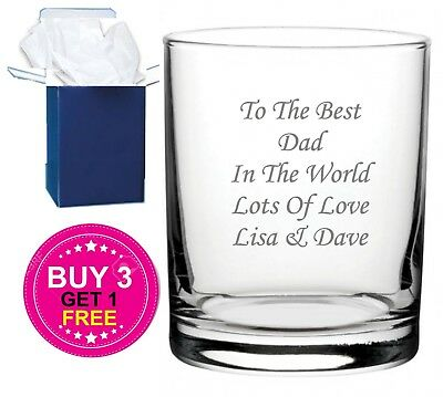 Personalised Engraved Whiskey Glass B-day,X-mas//Fathers Day Gift Grandads 1