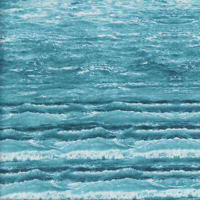 Waves Ocean Rolling Surf Water Beach Landscape Quilting Fabric FQ or Metre *New*