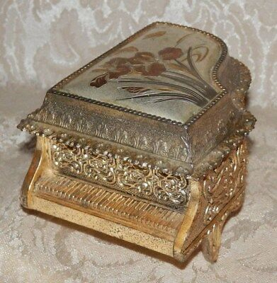 VINTAGE SCHMID Jewelry Music Box Gold Baby Grand Piano The