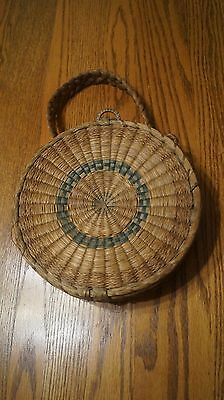 Vintage Sewing Basket with hinged lid and braided handles - VGC