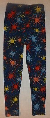 NEW kids LULAROE Americana 4th of July Patriotic fireworks leggings Size S/M