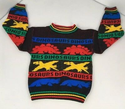 Vtg 80s Boys Blue Red Green Dinosaur Spell Out Crewneck Knit Sweater S/M