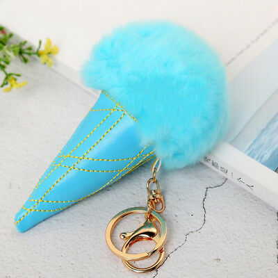 Key chians Purse Bag Ice Cream Faux Fur Keyrings Keychain Charm Pendant Gift