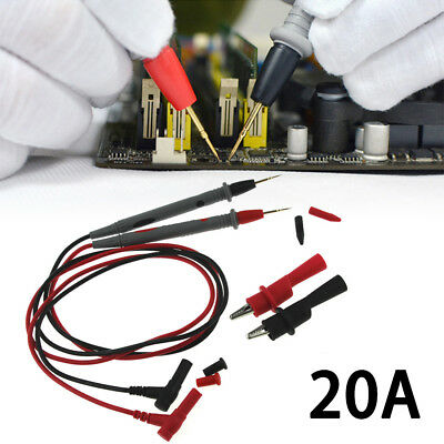 20A Gold Plated Multimeter Test Lead Probe Wire Pen Cable Alligator Clip Set