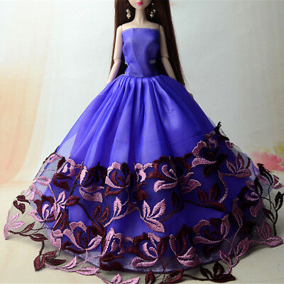 Handmade Doll  Barbie Doll Wedding Party Bridal Princess Gown Dress Clothes ##