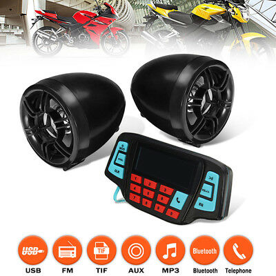 2x Motorrad Bluetooth Audio Radio System Lautsprecher USB SD FM MP3 Musik Player