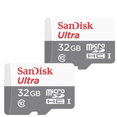 2x 32GB SanDisk  Ultra 80MB/s Class 10 UHS-I Micro SD SDHC Memory Card SDSQUNS