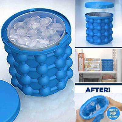 Ice Cube Maker Genie The Revolutionary Space Saving Ice Cube Trays Bucket Large