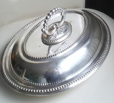 Anitque Edwardian Silver Plated 3 Part Beaded Entree Dish    *