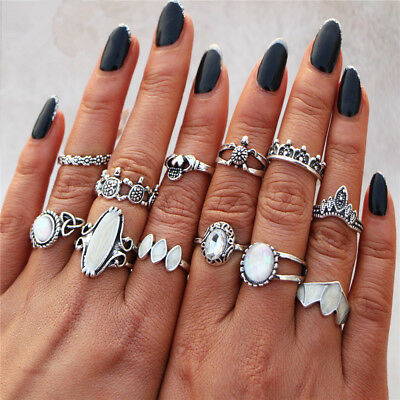 12pcs/set Silver/Gold Boho Stack Plain Above Knuckle Ring Midi Finger Rings Chic