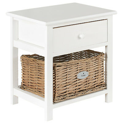 Hartleys Small White Bedside Table Unit/Cabinet Wicker Bedroom Storage Drawer