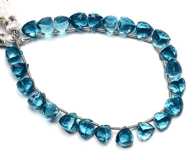Swiss Blue Topaz Color Hydro Quartz Faceted 8MM Trillion Shape Briolette Beads8""