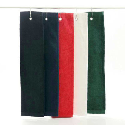 1PC Foldable Hanging Golf Bag Sport Tri Fold Towel Cotton Trifold With Carabiner