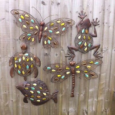 Set of 2 1 pair of 53cm Metal Butterfly /& 53cm Dragonfly Metal Wall Art Hanging