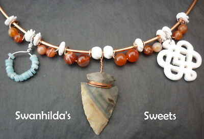 Larp Viking Necklace Handcrafted Jasper Arrow, Bone, Carnelian, Amazonite Swsw