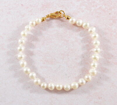 Vintage style hand knotted white freshwater pearl bracelet