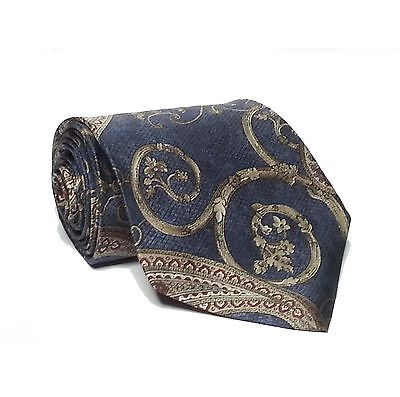"""Steward Men Silk Tie Blue Made in USA 3-3/4"""" wide 57"""" long Classic Paisley Print"""