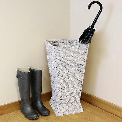 White Woven Wicker Umbrella Bin/Basket & Walking Stick Holder/Laundry Stand
