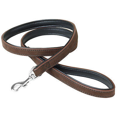 1.6cm x 100cm Brown/Black Genuine Leather Strong Puppy/Dog Walking Leash/Lead 1M