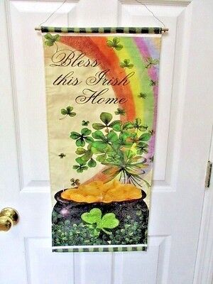 BLESS THIS IRISH HOME Decorative BannerWall Hanging Clovers, Rainbows Pot oGold
