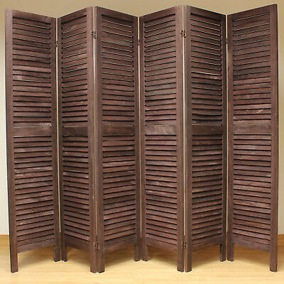 Brown 6 Panel Wooden Slat Room Divider Home Privacy Screen/Separator/Partition