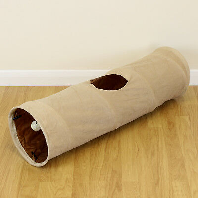 Medium Beige Soft Folding Cat/Kitten Pet Play Tunnel Activity Centre Fun/Toy