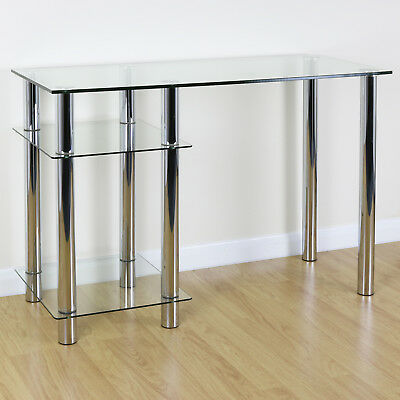 Clear Glass Top PC Computer Desk with Base Unit Shelf Home Office/Study Table