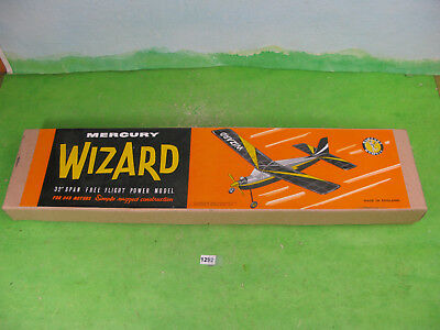 vintage mercury model aircraft wizard 32'' boxed rc kit 1292