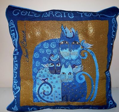 Laurel Burch Blue Indigo Cats Tapestry Throw Pillow Retired Design NEW