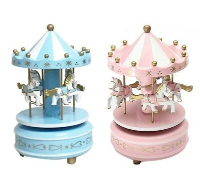 Wooden Carousel Music Box  4 Horse Mechanical Merry-Go-Round Wind-Up