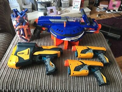 Nerf Gun Job Lot Hail-Fire Sharp Shot Quick Loader All Working Loads Of Darts