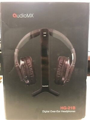 AudioMX HG-21B Wireless RF Over-Ear Headphones for TV 2.4 GHz Digital Transmiter
