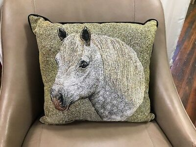 """Percheron draft Horse head Woven Cotton Tapestry Accent 17"""" Throw Pillow NEW"""