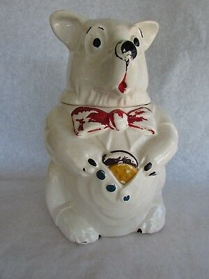 Vintage 1940s McCoy Bear Cookie Jar COOKIES Rare Pottery Jar Bear with Vest