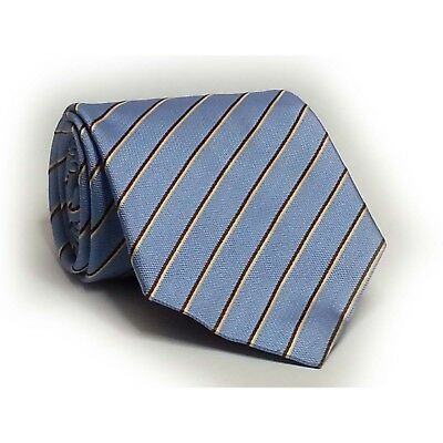"""D'este Men Dress Silk Blue with stripes 3.75"""" wide 57"""" long Made in ITALY"""