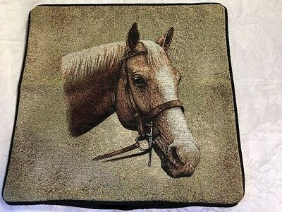 """Palomino Horse head portrait Zippered 17"""" Pillow COVER Woven Cotton Tapestry NEW"""