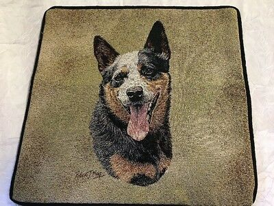 "Australian Cattle Dog head Zippered 17"" Pillow COVER Woven Cotton Tapestry NEW"