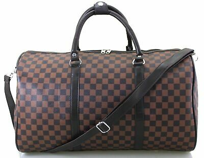 Leather Style Faux Leather Holdall Luggage Weekend Duffel Cabin Travel Gym Bag
