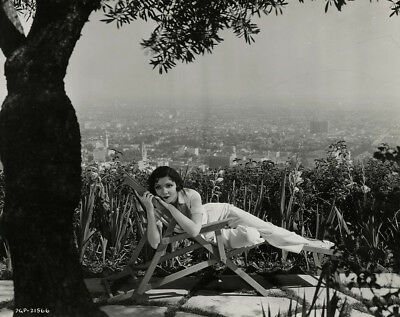 Claudette Colbert 1930s Vintage Art Deco Glamour Photograph w/ Hollywood Skyline