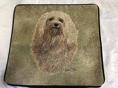"Havanese Dog head portrait Zippered 17"" Pillow COVER Woven Cotton Tapestry NEW"