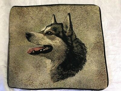 "Alaskan Malamute Dog head portrait Zippered 17"" Pillow COVER Cotton Tapestry NEW"