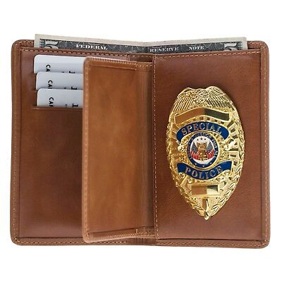Police Leather Badge Wallet- Universal Fit -Pin Back Badge-Tobacco Brown