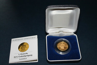 Goldmünze Ecu Golddukat Deutschland 1992 Coin Gold Eur 19900