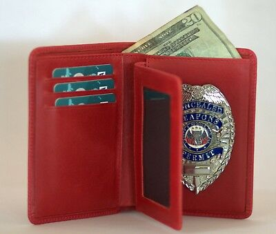 Police Leather Badge/Cred Wallet, Red, All Leather,Fits all Badge Shapes