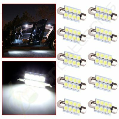 10x Auto SMD Car LED Festoon Dome Map Trunk for Interior Light Bulbs 39mm White