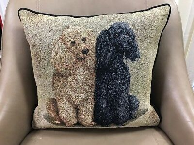 Creme Black Poodle dogs Jacquard Woven Cotton Tapestry Accent Throw Pillow NEW