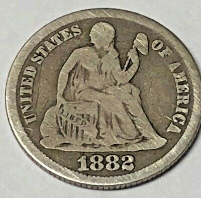 1882 Seated Liberty Dime United States of America 10 Cent Silver Coin